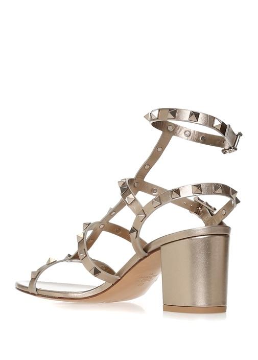 Rockstud Gold Dokulu Kadın Deri Sandalet