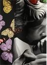 Siyah Yüz Baskılı Kelebekli 88x88 Kadınİpek Eşarp