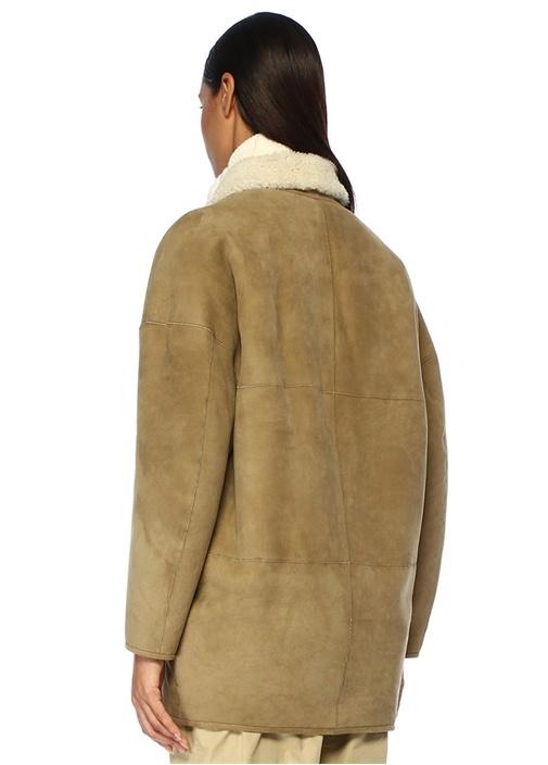 Carman Haki Bej Çift Taraflı Shearling Deri Ceket