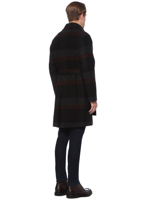 Siyah Kelebek Yaka Çizgili Beli KuşaklıYün Palto