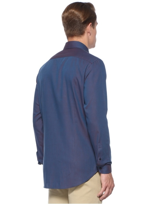 Slim Fit Lacivert Logo Nakışlı Düğmeli Yaka Gömlek
