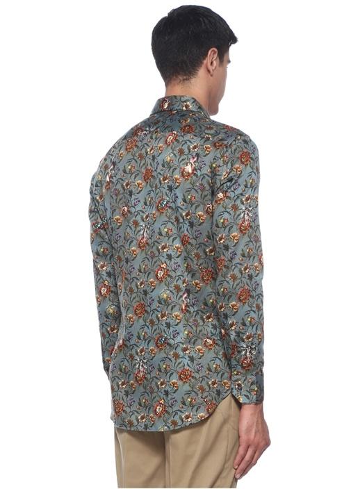 Gri Çiçek Desenli İngiliz Yaka Gömlek