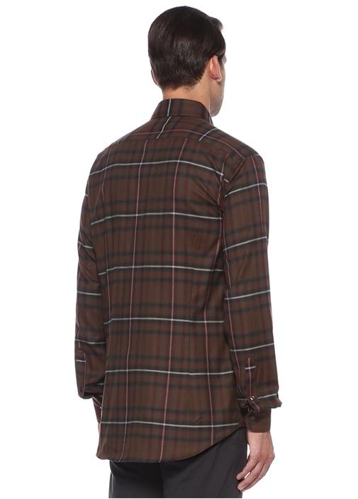 Regular Fit Kahverengi Düğmeli Yaka Kareli Gömlek