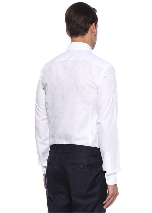Regular Fit Düğmeli Yaka Etnik Desenli Gömlek
