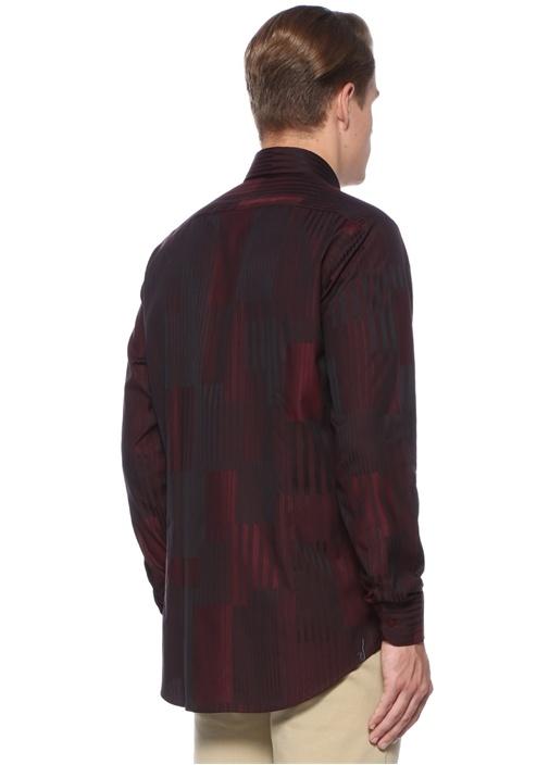 Bordo Düğmeli Yaka Çizgi Desenli Gömlek