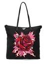 2li Siyah Kırmızı Desenli Kadın Alışveriş Çantası