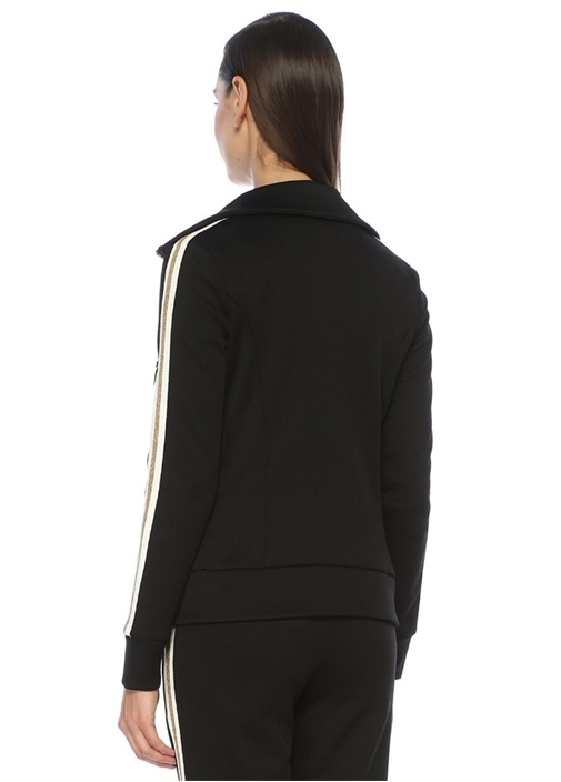 Siyah Dik Yaka Logo Nakışlı Sweatshirt