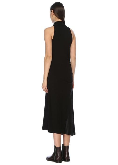 Siyah Dik Yaka Saten Garnili Midi Yün Elbise