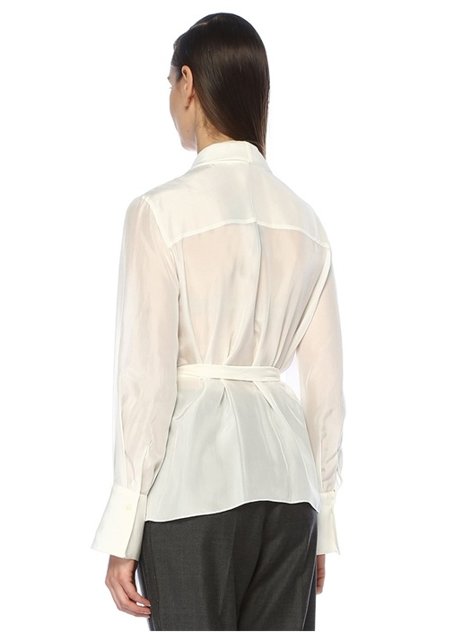 Beyaz Şal Yaka Beli Kemer Detaylı İpek Bluz