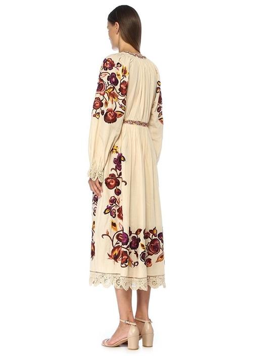 Miro Bej Çiçek Nakışlı Pileli Midi Keten Elbise
