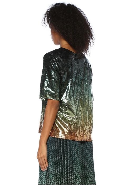 Roy Yeşil Degrade Payet İşlemeli Bluz