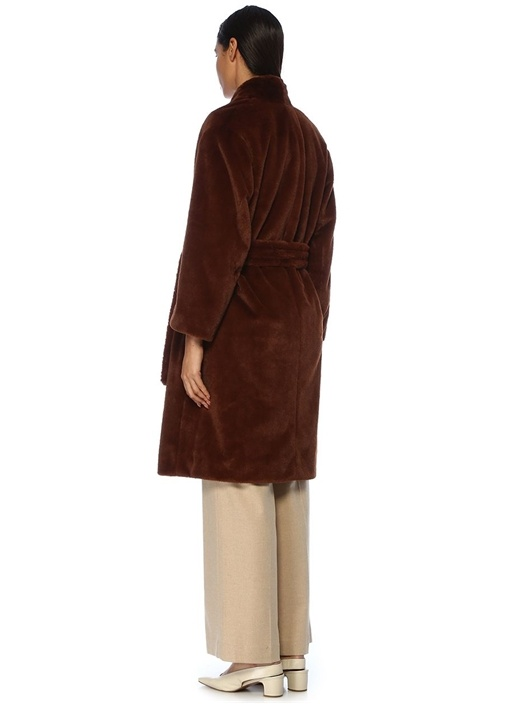 Kahverengi Beli Kuşaklı Suni Kürk Palto