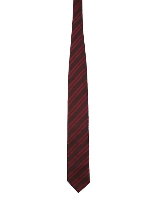 Bordo Verev Çizgili İpek Kravat