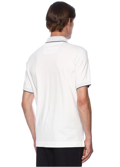Beyaz Polo Yaka Garni Detaylı T-shirt