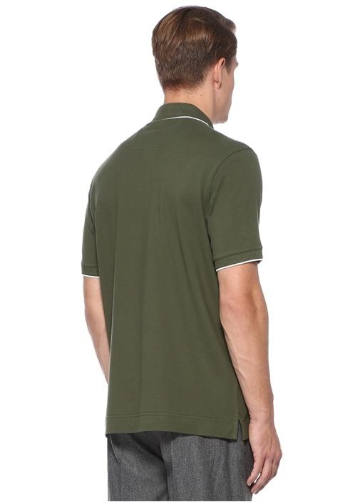 Haki Polo Yaka Kontrast Şeritli Dokulu T-shirt