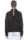 Siyah Fırça Darbesi Desenli Denim Ceket