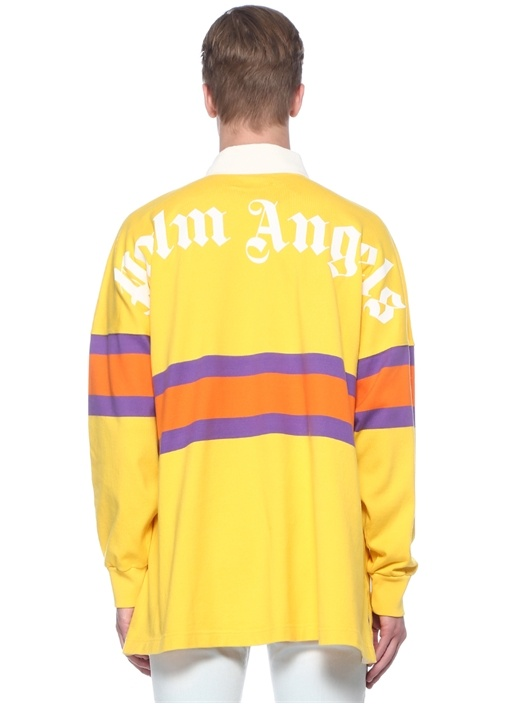 Sarı Polo Yaka Şeritli Sweatshirt