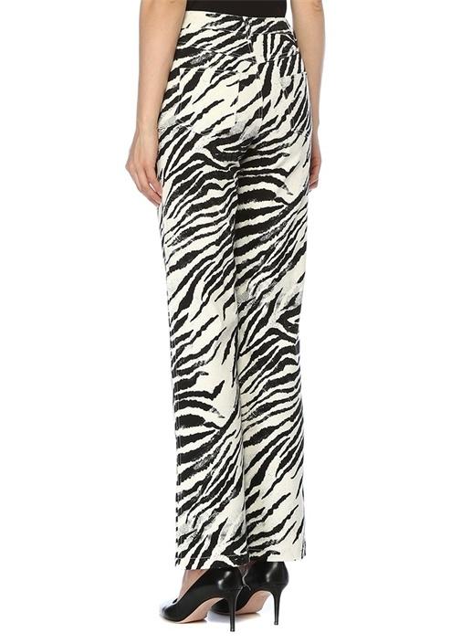 Zebra Desenli Taş Şerit Detaylı Jean Pantolon