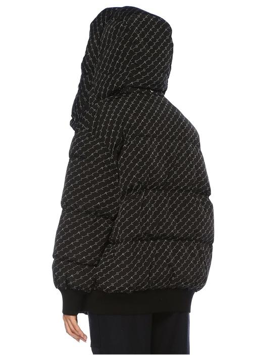 Samara Oversize Siyah Kapüşonlu Logolu Puff Mont