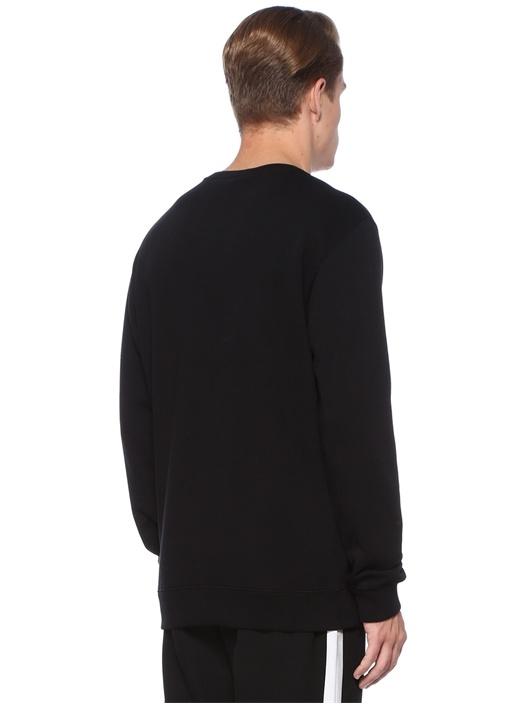 Siyah Bisiklet Yaka Nakışlı Logolu Sweatshirt