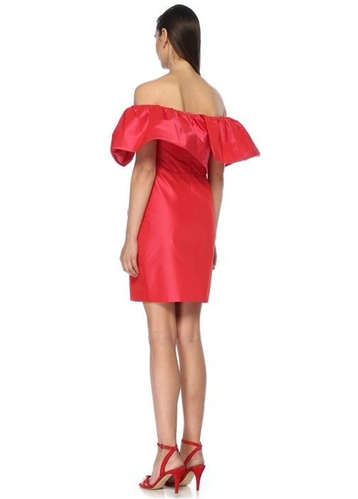 Fuşya Yakası Fırfırlı Mini Kokteyl Elbisesi