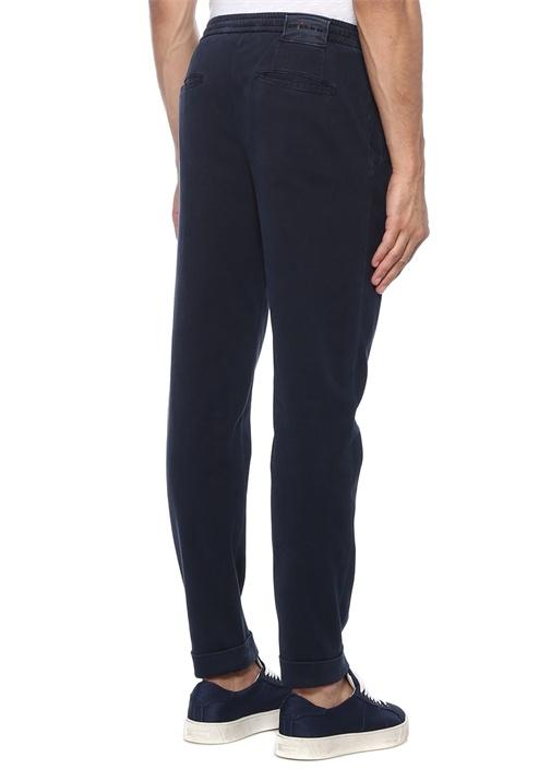 Lacivert Pile Detaylı Kanvas Chino Pantolon