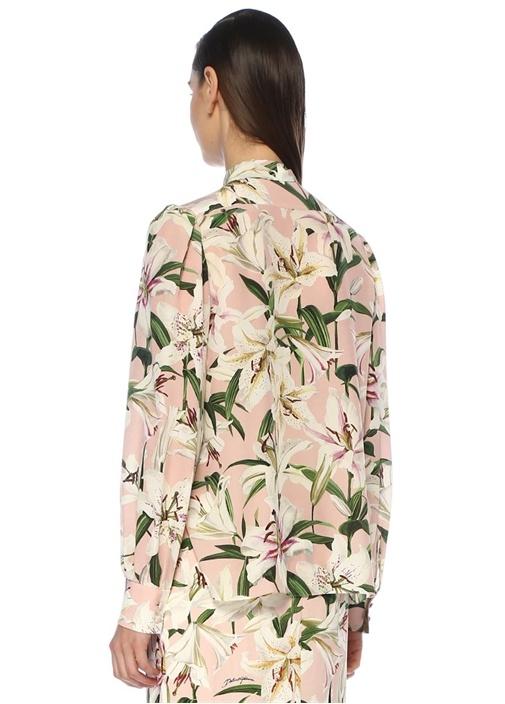 Lilium Pembe Yakası Bağlı Düğmeli İpek Bluz