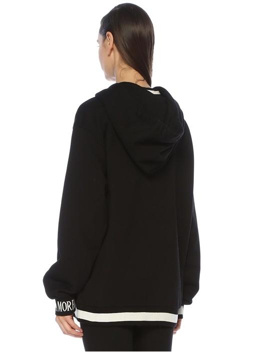 Siyah Kapüşonlu Patch Detaylı Sweatshirt