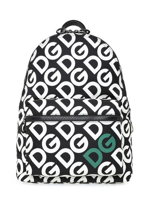 Siyah Beyaz Logo Baskılı Erkek Sırt Çantası