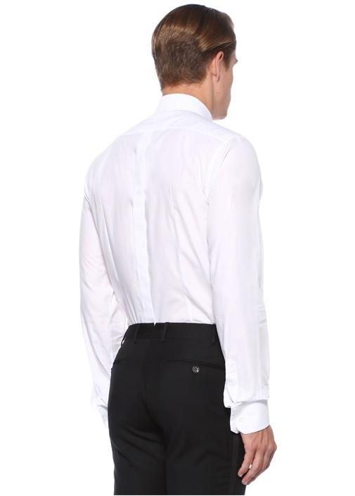 Gold Beyaz İngiliz Yaka Logo Nakışlı Gömlek