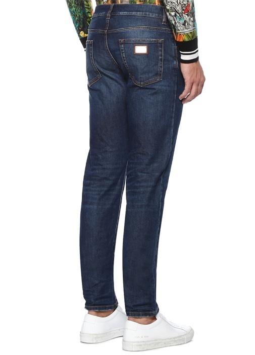 Slim Fit Mavi Kontrast Dikişli Jean Pantolon