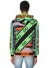 Yeşil Kapüşonlu Figür Baskılı Ribli Sweatshirt