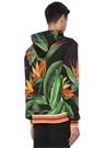 Siyah Yeşil Kapüşonlu Yaprak Baskılı Sweatshirt