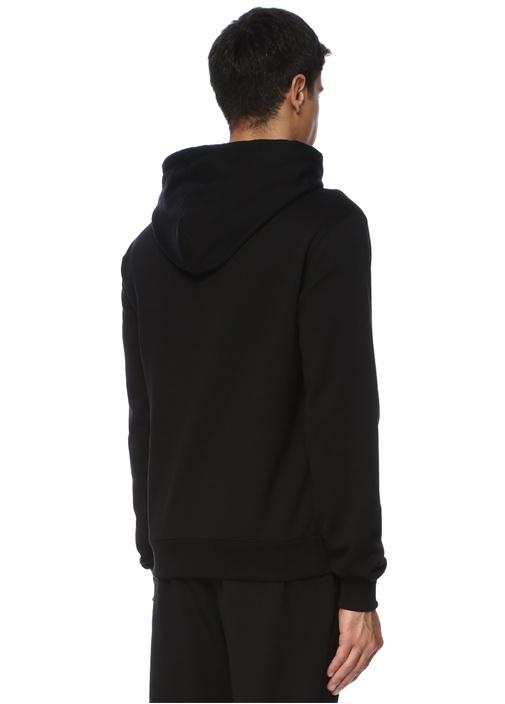 Siyah Kapüşonlu Çiçek Aplikeli Sweatshirt