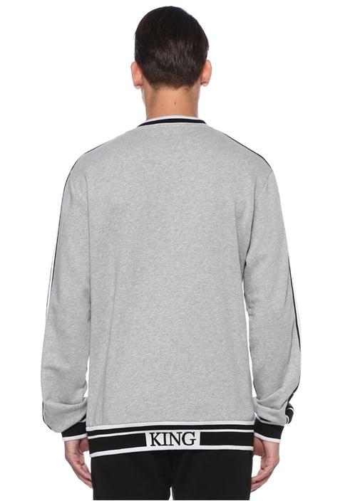 Gri Logo Jakarlı Sweatshirt