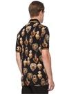 Siyah Gold Polo Yaka Kalp Baskılı T-shirt
