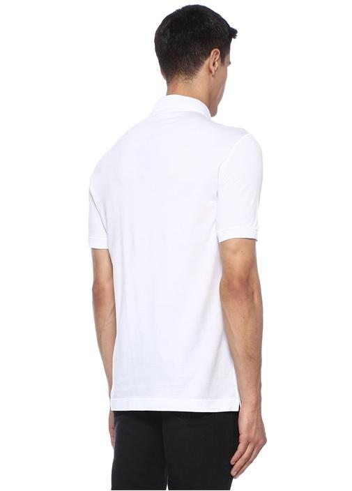 Beyaz Polo Yaka Logo Patchli Dokulu T-shirt