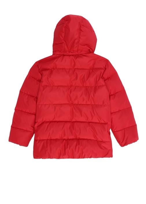 Kırmızı Kapüşonlu Manşet Detaylı Erkek Çocuk Mont