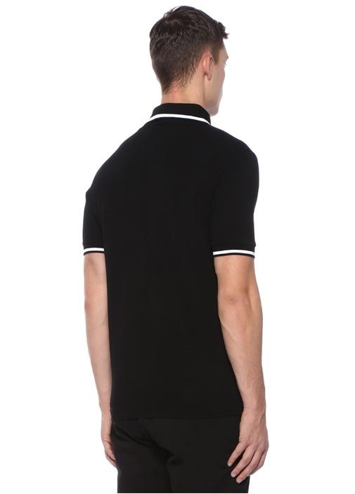 Siyah Polo Yaka Gold Logo Nakışlı T-shirt