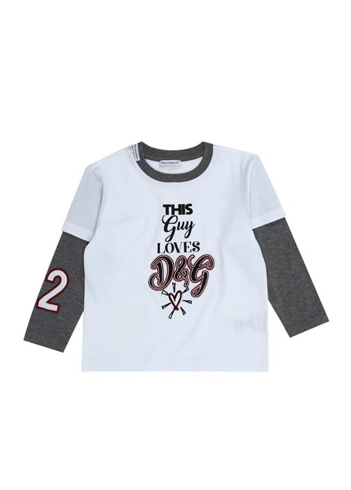 Beyaz Logo Patchli Uzun Kollu Erkek Çocuk T-shirt
