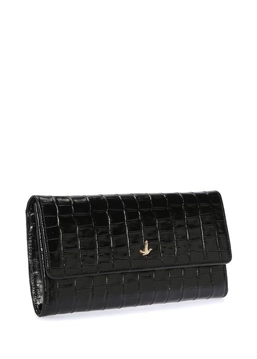 Siyah Krokodil Desenli Kadın Deri Cüzdan