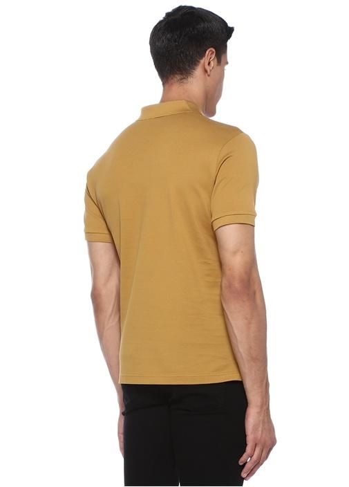 Hardal Polo Yaka Dokulu Logo Patchli T-shirt