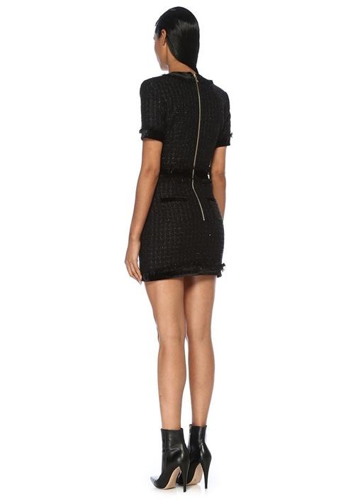 Siyah Gold Düğmeli Kısa Kol Mini Tweed Elbise