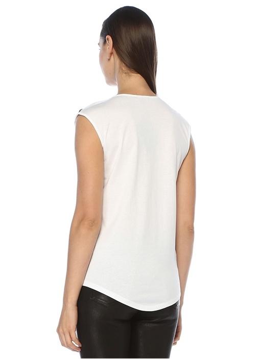 Beyaz Logolu Omzu Düğmeli Kolsuz T-shirt