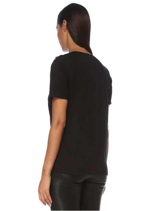 Siyah Taşlı Logo İşlemeli T-shirt