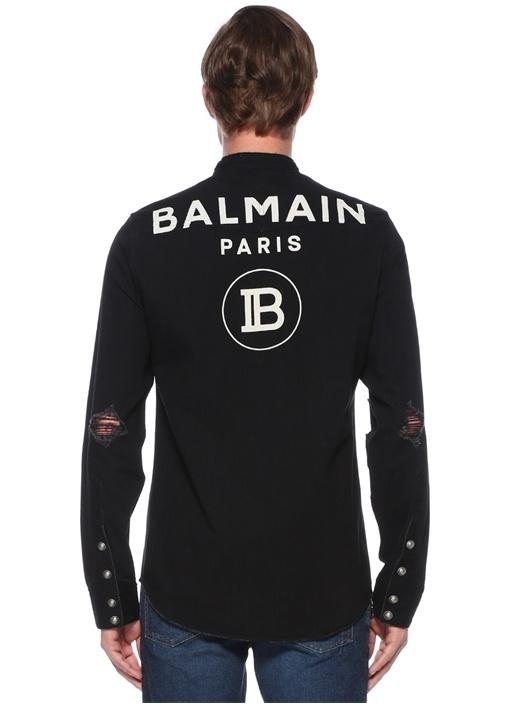 Siyah Hakim Yaka Yıpratmalı Logolu Gömlek
