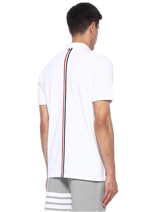 Beyaz Polo Yaka Logo Şeritli Dokulu T-shirt