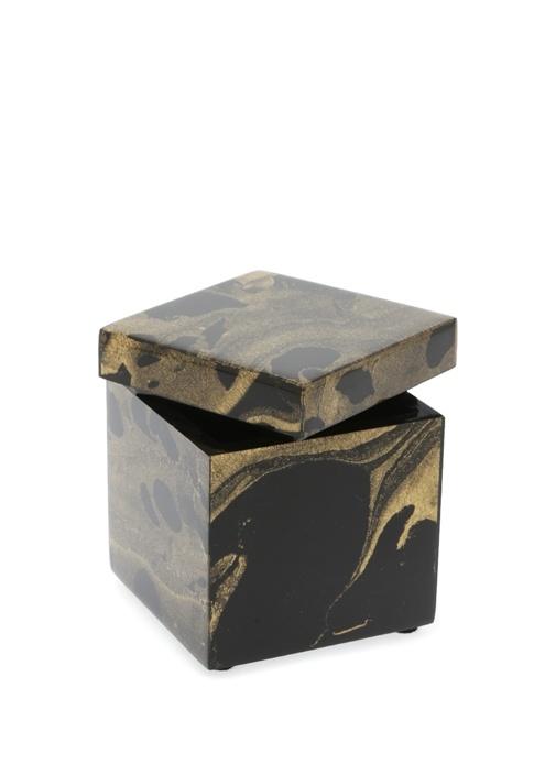 Siyah Gold Desenli Kare Formlu Pamukluk