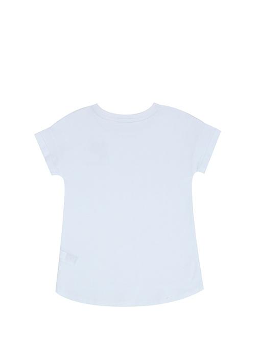 Beyaz Logolu Çiçek Patchli Kız Çocuk T-shirt