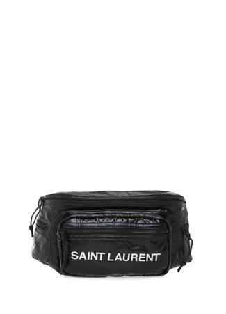 Saint Laurent Erkek Nuxx Siyah Logo Baskılı Kadın Bel Çantası EU